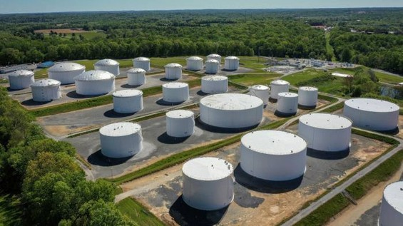 A tank farm connected to the Colonial pipeline, which shut down for days after hackers invaded its information systems © Drew Angerer/Getty Images