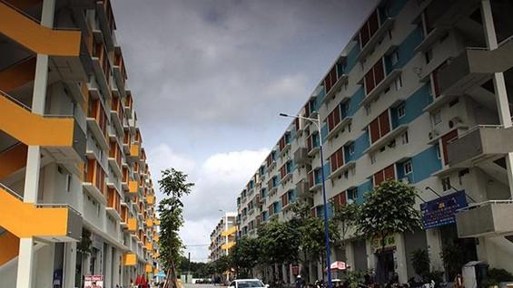 Khu nhà ở xã hội Becamex tại TP. Thủ Dầu Một, tỉnh Bình Dương, là nơi lưu trú cho nhiều công nhân.