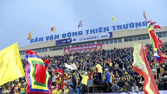 Chiến thắng 3-0-Thầy trò HLV Văn Sĩ tạo nên cơn địa chấn trên sân Thiên Trường trong ngày khai mạc V-League 2021. Ảnh: Minh Hoàng