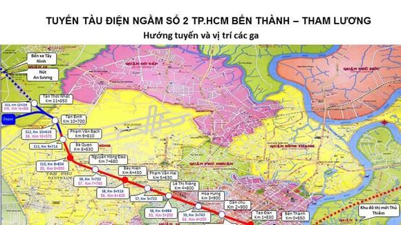 Sơ đồ tuyến metro số 2 Bến Thành - Tham Lương