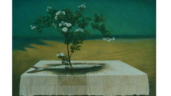 """Bức tranh """"Cây đời mãi xanh"""" của họa sĩ Vũ Mười"""