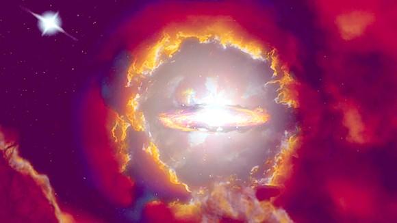 2 thiên hà bí ẩn ở rìa không gian và thời gian, bị ẩn giấu đằng sau bức màn bụi của vũ trụ