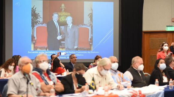 Thông điệp của Tổng Bí thư Nguyễn Phú Trọng được phát tại hội thảo. Ảnh: TTXVN