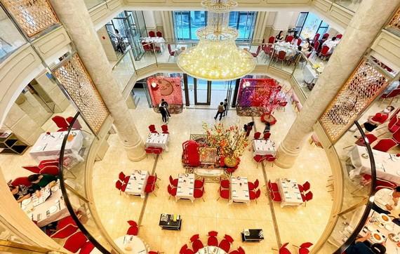 愛華二大酒樓佈置迎春佈景讓食客拍照留念。
