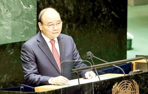 國家主席阮春福在第七十六屆聯合國大會一般性辯論發表演講。
