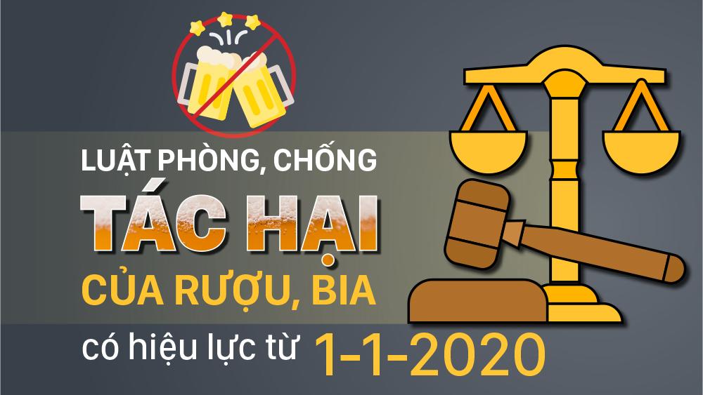Luật Phòng, chống tác hại của rượu, bia có hiệu lực từ 1-1-2020