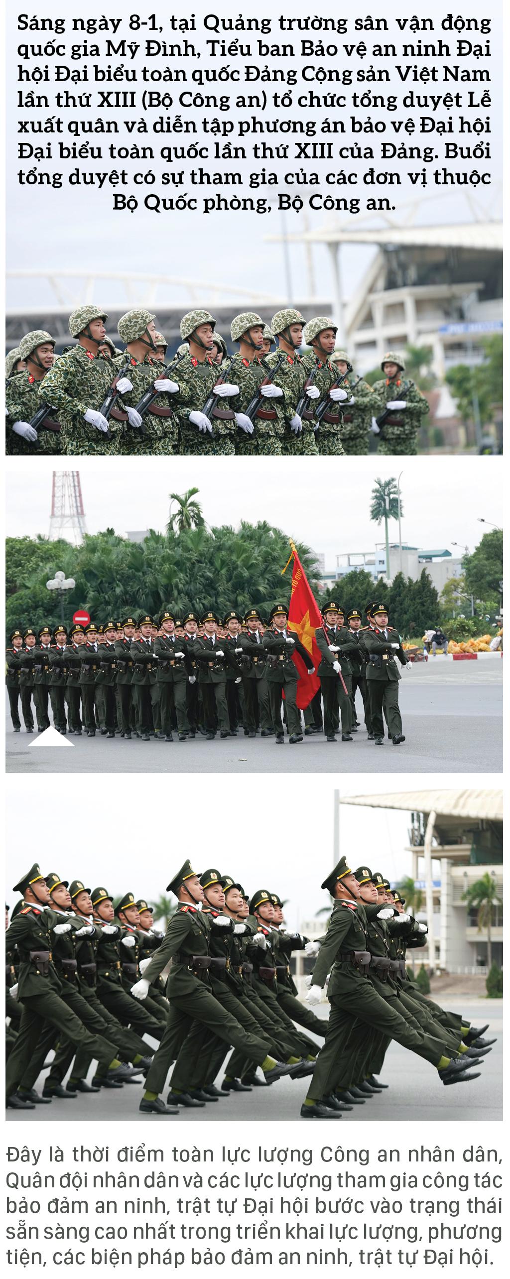 Các lực lượng tổng duyệt phương án bảo vệ Đại hội Đảng lần thứ XIII ảnh 1