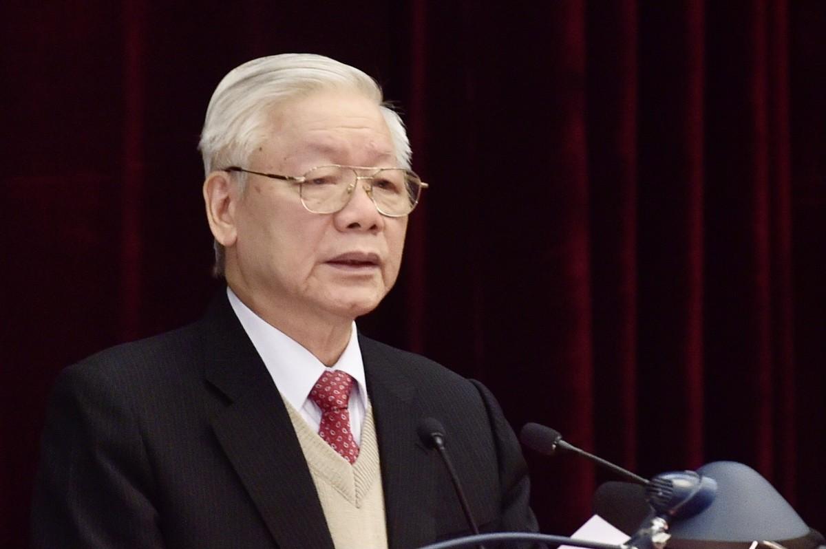 Tổng Bí thư, Chủ tịch nước Nguyễn Phú Trọng phát biểu khai mạc Hội nghị Trung ương 15. Ảnh: VIẾT CHUNG