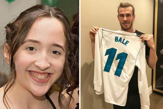 Bale đã rất nhiệt tình giúp nữ sinh đồng hương vượt qua bệnh tật. Ảnh: Daily Star
