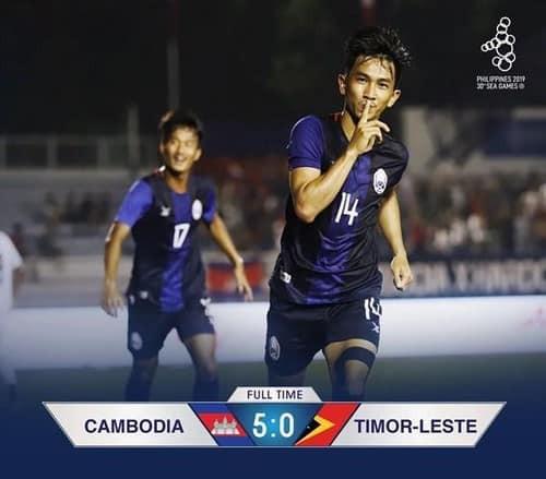 Campuchia thắng đậm Timor Leste để lên ngôi đầu bảng A ảnh 1