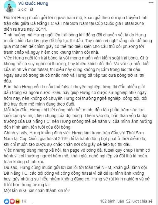 Tuyển thủ Việt Nam có hành vi xem thường futsal Thái Sơn Nam và khán giả? ảnh 2
