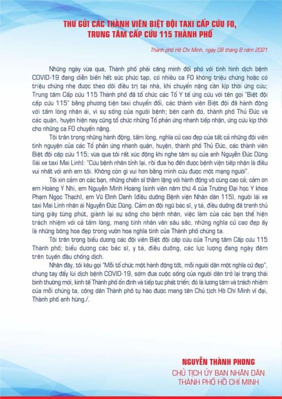 Chủ tịch UBND TPHCM Nguyễn Thành Phong gửi thư biểu dương biệt đội taxi cấp cứu F0, Trung tâm cấp cứu 115 ảnh 3