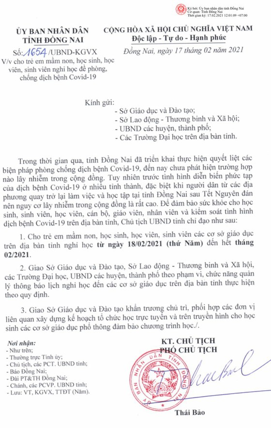 Đồng Nai và Gia Lai cho học sinh nghỉ học đến hết tháng 2 để phòng dịch Covid-19 ảnh 1