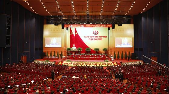 Toàn cảnh phiên khai mạc Đại hội XIII của Đảng lúc Tổng Bí thư, Chủ tịch nước Nguyễn Phú Trọng trình bày báo cáo. Ảnh: VIẾT CHUNG