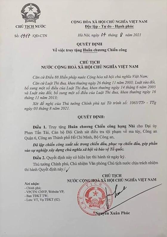 Chủ tịch nước quyết định truy tặng Huân chương Chiến công hạng Nhì cho Đại úy Phan Tấn Tài ảnh 1