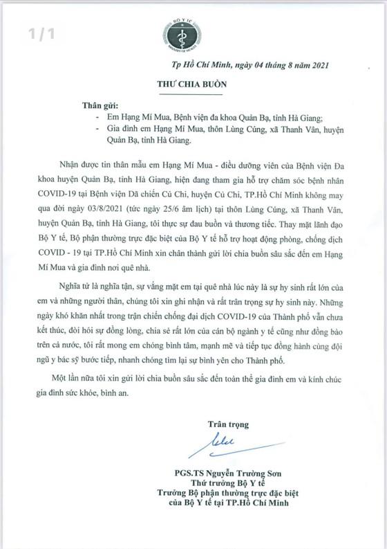 Thứ trưởng Bộ Y tế gửi thư chia buồn với điều dưỡng mất người thân không về chịu tang được ảnh 1