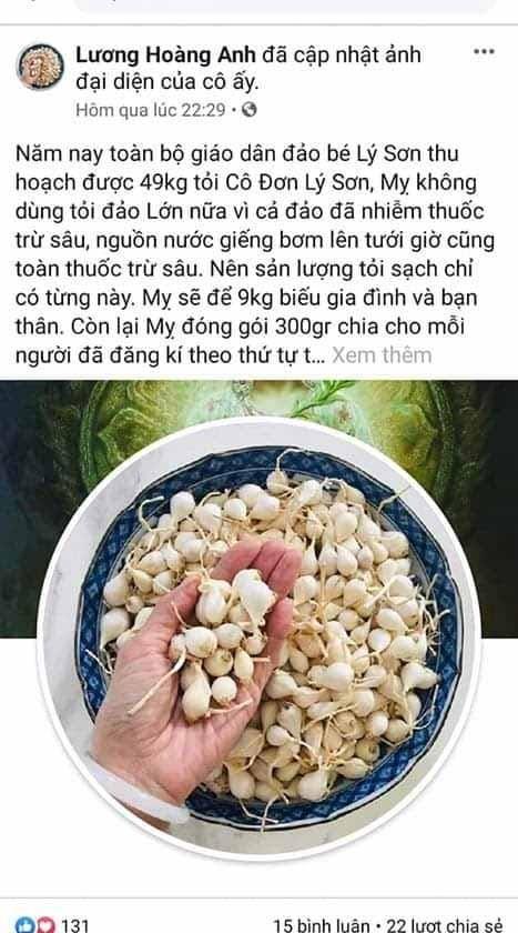 Quảng Ngãi đề nghị Bộ Công an truy tìm tài khoản Facebook tung tin tỏi Lý Sơn nhiễm thuốc trừ sâu ảnh 1