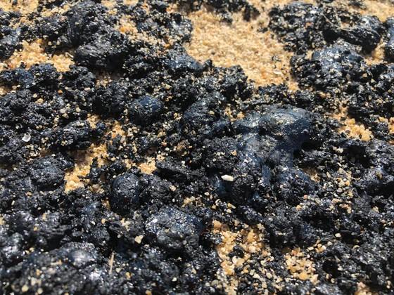 Quảng Ngãi: Xuất hiện 'chất lạ' màu đen, dẻo, vón cục trên bãi biển ảnh 3