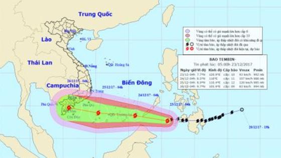 Bão Tembin hướng vào vùng biển Vũng Tàu- Cà Mau  ảnh 1