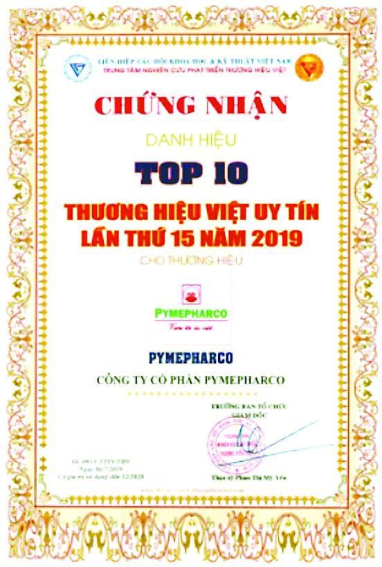Pymepharco nhận Cúp Vàng Tốp 10 'Thương hiệu Việt uy tín lần thứ 15' ảnh 2