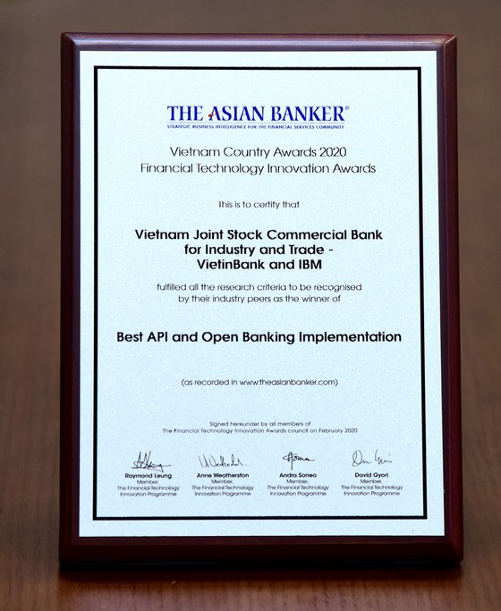 VietinBank được tôn vinh 'Triển khai nền tảng API và Ngân hàng mở tốt nhất' ảnh 2