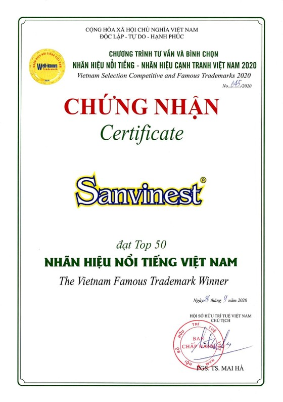 Công ty CP Nước giải khát Yến sào Khánh Hòa đạt nhiều danh hiệu, giải thưởng, chứng nhận uy tín trong tháng 9-2020 ảnh 2