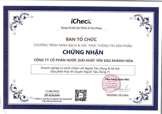 Công ty CP Nước giải khát Yến sào Khánh Hòa đạt nhiều danh hiệu, giải thưởng, chứng nhận uy tín trong tháng 9-2020 ảnh 3
