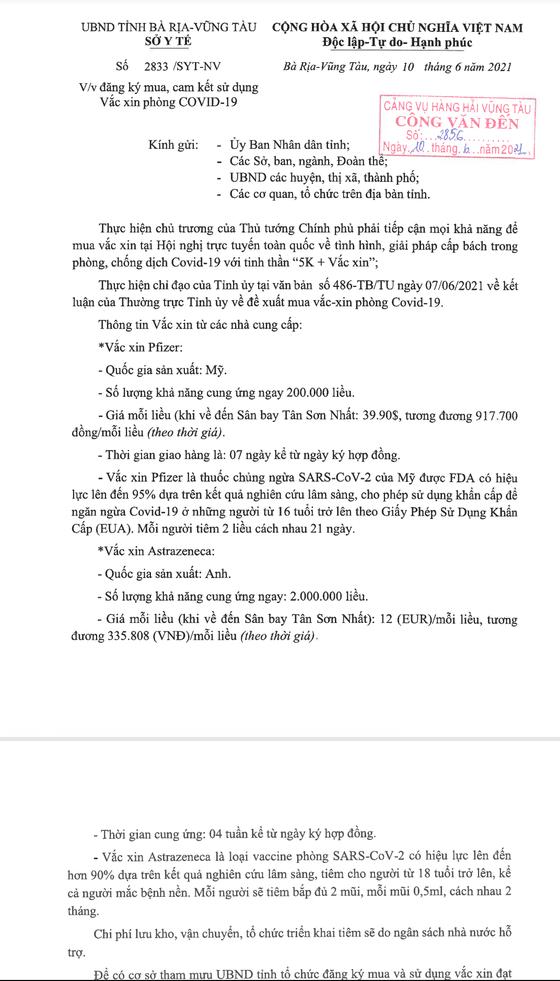 Bà Rịa - Vũng Tàu thu hồi văn bản đăng ký mua 2,2 triệu liều vaccine phòng Covid-19 ảnh 1