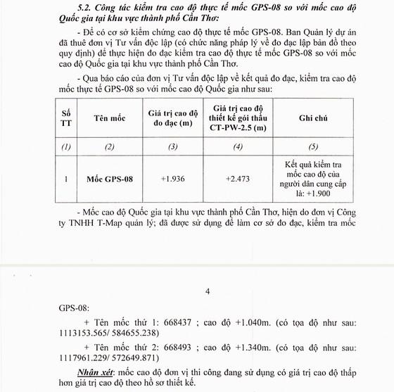Tồn tại 2 báo cáo kiểm tra cao trình gói thầu CT3-PW-2.5 với kết quả khác nhau ảnh 2