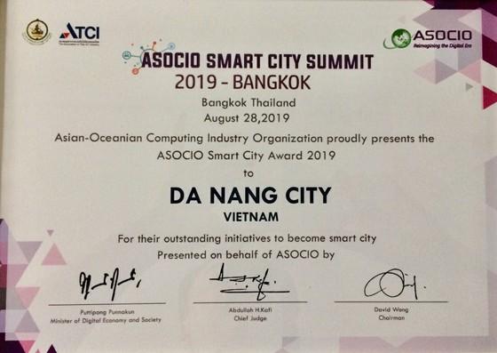 Đà Nẵng nhận giải thưởng Thành phố thông minh ASOCIO 2019 ảnh 1