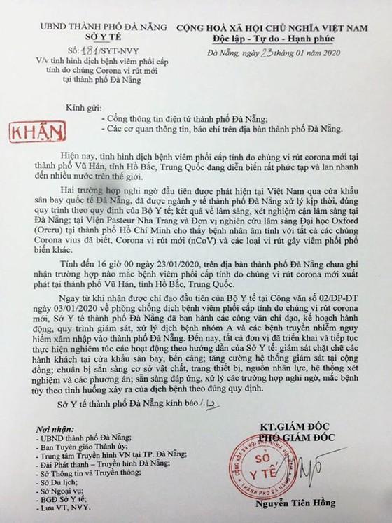 Sở Y tế Đà Nẵng đã bác bỏ thông tin 'Đà Nẵng đã có du khách Trung Quốc nhiễm virus Corona' ảnh 1