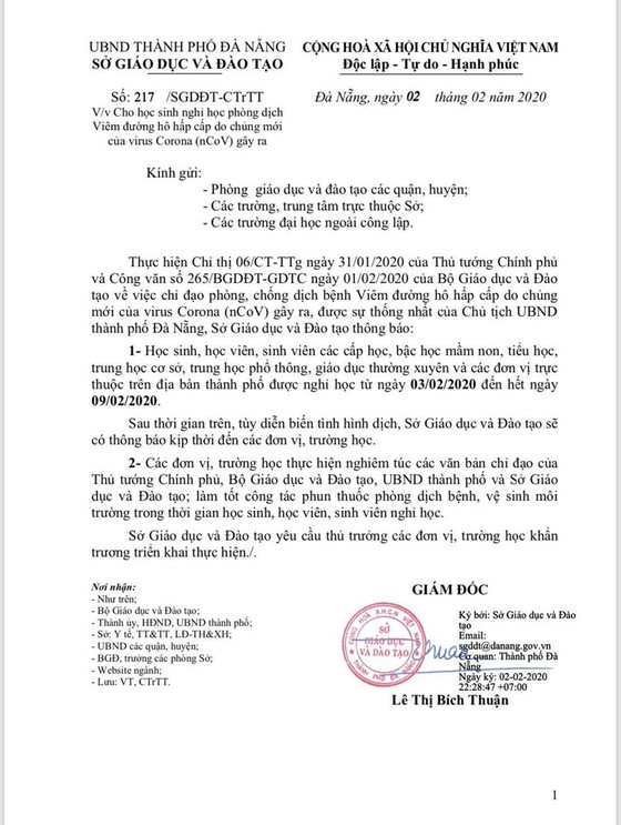 Đà Nẵng cho học sinh nghỉ học từ ngày 3-2 đến ngày 9-2 để phòng dịch bệnh ảnh 1