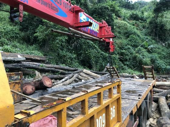 Xe cẩu ngang nhiên vào hồ thủy điện vận chuyển gỗ lậu ảnh 2