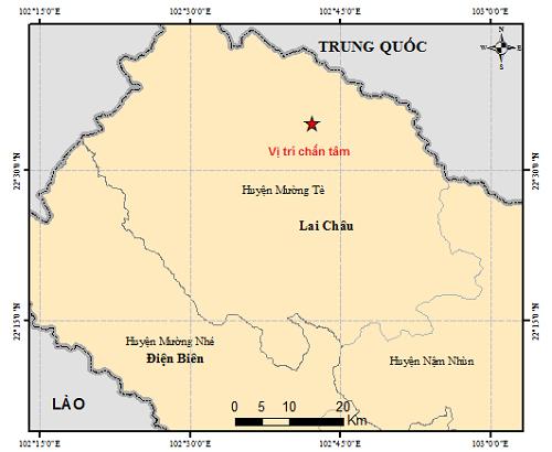 Vị trí xảy ra động đất sáng nay 13-1 theo sơ đồ của Viện Vật lý địa cầu