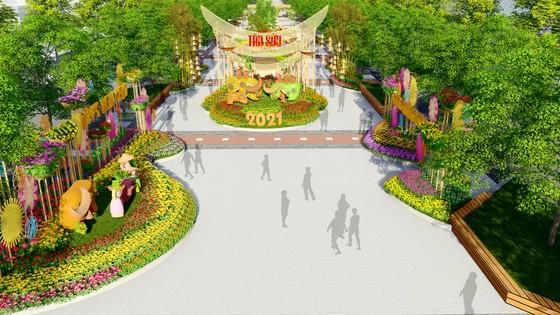 Phối cảnh đường hoa Nguyễn Huệ Tết Tân Sửu 2021