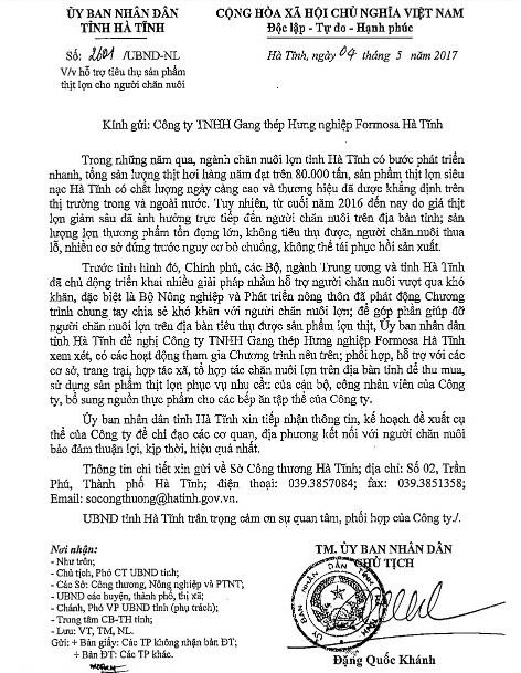 Hà Tĩnh đề nghị Công ty Formosa hỗ trợ tiêu thụ thịt heo cho người nuôi ảnh 1