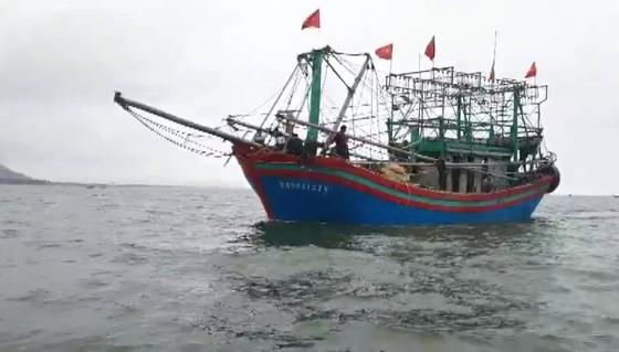 Tàu đánh cá bốc cháy trên biển, 8 thuyền viên thoát nạn ảnh 1