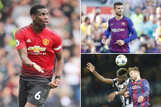 Pique không giấu giếm khao khát muốn Pogba gia nhập Barca. Ảnh Getty Images.