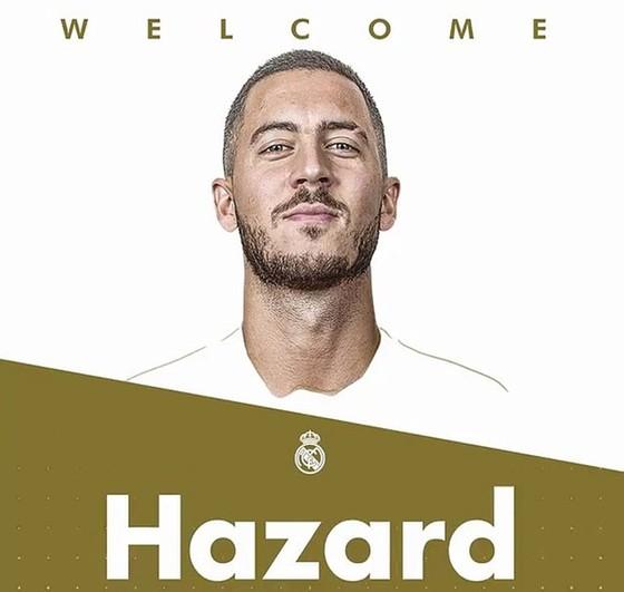 Hình ảnh Eden Hazard được Real Madrid đưa trong lời chào đón. Ảnh: Daily Mail