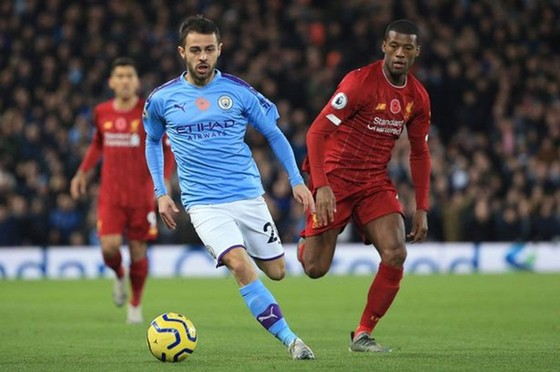Bernardo Silva ở trận thua Liverpool cuối tuần qua. Ảnh: Getty Images