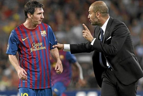 Pep Guardiola và Lionel Messi đã thảo luận về dự án mới tại Man.City. Ảnh: Getty Images
