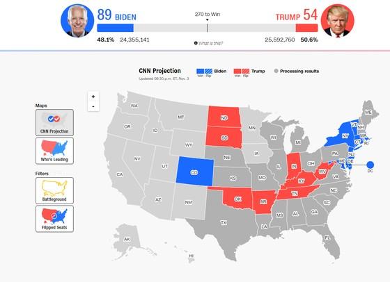 Bầu cử Mỹ 2020: Đương kim Tổng thống có 213 phiếu đại cử tri, ứng viên Joe Biden giành 238 phiếu ảnh 17
