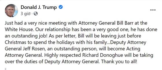 Bộ trưởng Tư pháp Mỹ William Barr từ chức ảnh 1
