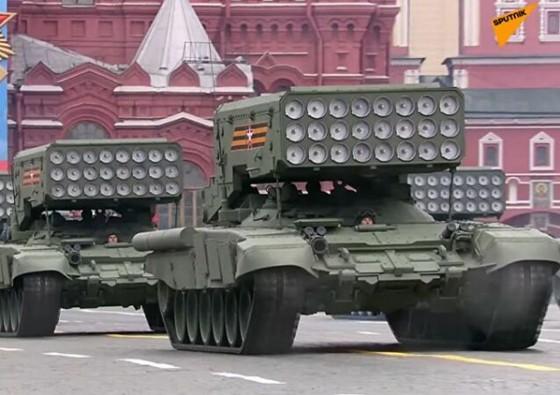 Hệ thốngpháo phản lực nhiệt ápTOS-1A, được phát triển để thực hiện nhiệm vụ tiêu diệt bộ binh địch, cũng như hỗ trợ cho lực lượng bộ binh và xe tăng.Ảnh: Sputnik.