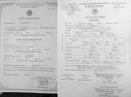 CLB Thanh Hóa cung cấp bản sao giấy khai sinh cầu thủ Lê Sỹ Hà sinh năm 2000 khi gia nhập lò đào tạo xứ Thanh năm 2013 (ảnh trái). Trong khi đó CLB Hà Nội cung cấp giấy khai sinh bản gốc chứng tỏ cầu thủ Lê Sỹ Hà sinh năm 2002, đủ tuổi dự giải U15 Quốc gi
