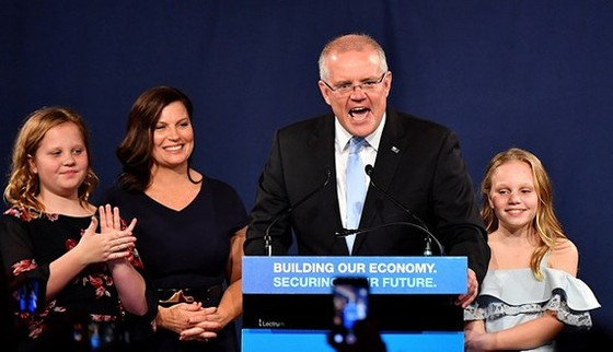 Ông Scott Morrison tuyên bố chiến thắng tại Sydney tối 18-5, giờ địa phương. Ảnh: REUTERS