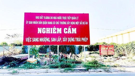 Pano của UBND phường Linh Trung (quận Thủ Đức) cảnh báo tình trạng phân lô bán nền trái phép. Ảnh: NGUYỄN SINH