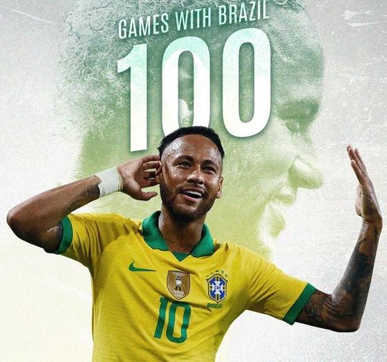 Neymar trở thành cẩu thủ trẻ nhất khoác áo Brazil 100 lần ảnh 1