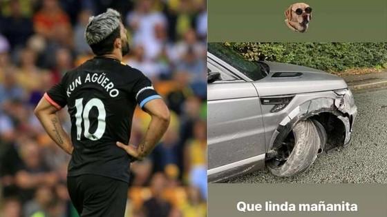 Sao Man City Aguero gặp tai nạn xe hơi