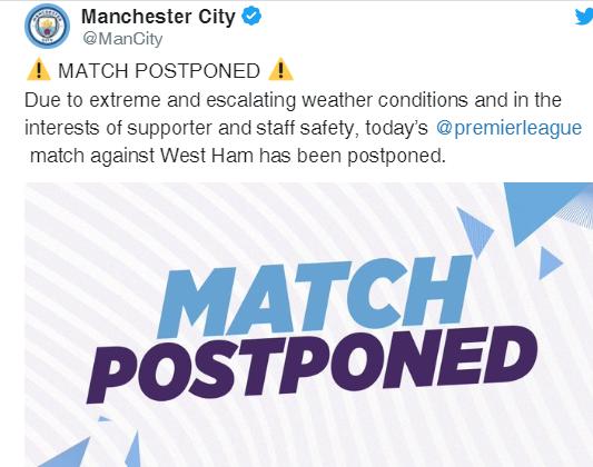 Hoãn trận Man City - West Ham vì bão Ciara